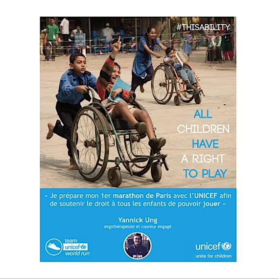 Ergothérapeute et marathonien engagé pour l'UNICEF